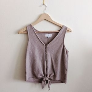 Like New Madewell Ribbed Tie Front Top